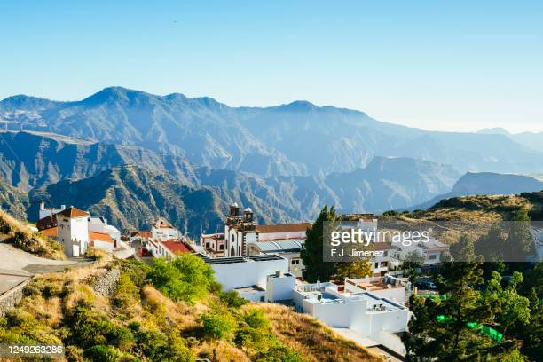 landscape of the village of tejeda in gran canaria - tejeda stock pictures, royalty-free photos & images