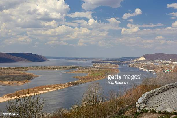 landscape of the volga in the spring, russia - volga stock pictures, royalty-free photos & images