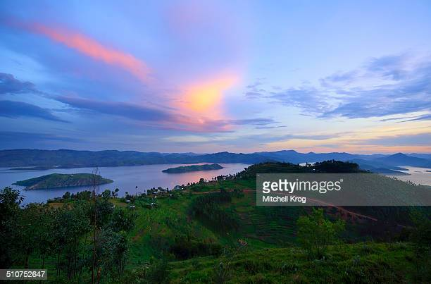 Landscape of Twin Lakes Rwanda at sunset