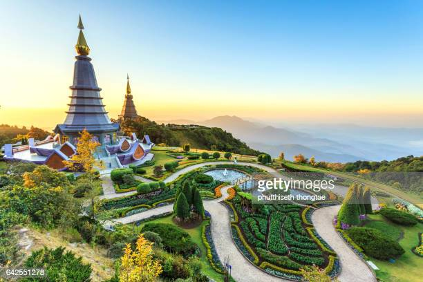 Landscape of two pagoda at the Inthanon mountain at sunset, Chiang Mai, Thailand.