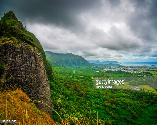 landscape of valley from nuuanu pali, oahu, hawaii, usa - mike marshall photos et images de collection