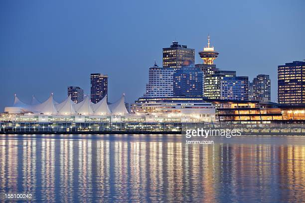 Landscape of Vancouver Over River Reflecting City Lights