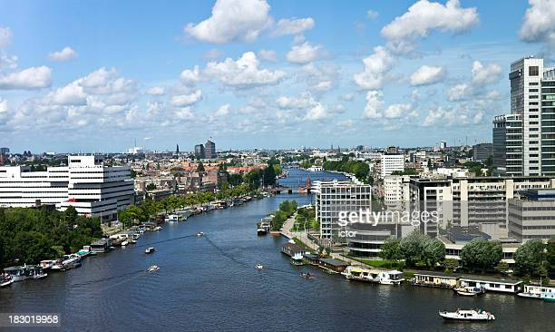 Landscape of water, buildings, and skyline in Amsterdam