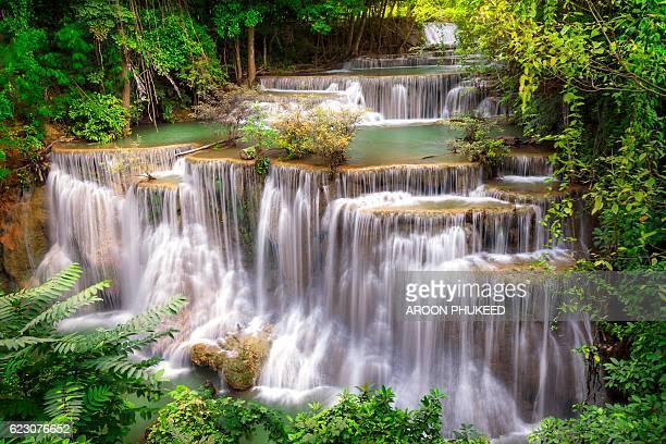 landscape of waterfall - カンチャナブリ県 ストックフォトと画像