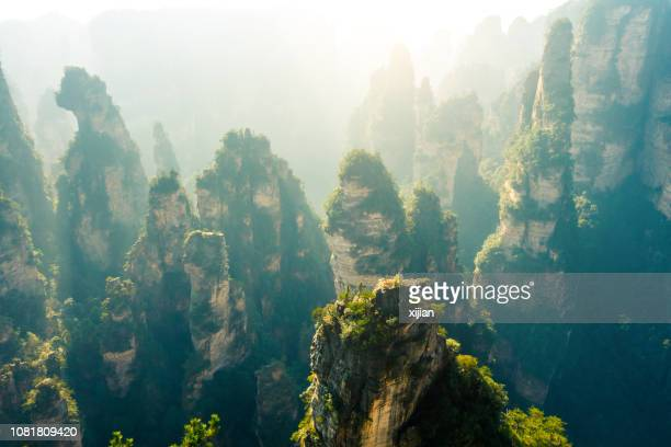 landscape of zhangjiajie national forest park - dramatic landscape stock pictures, royalty-free photos & images