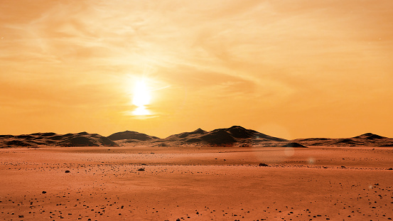 landscape on planet Mars at sunrise, desert with mountain range on the red planet 958396488