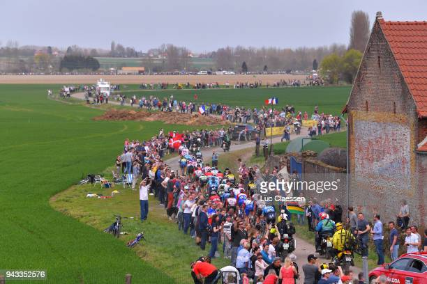 Landscape / Orchies / Peloton / Fans / Public / during the 116th Paris - Roubaix 2018 a 257km race from Compiegne to Roubaix on April 8, 2018 in...