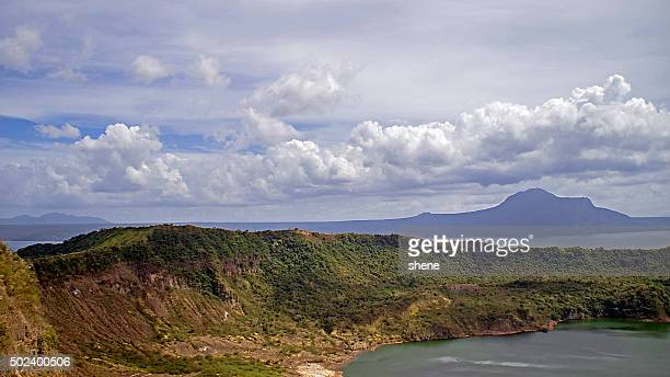 landscape over the crater taal - taal volcano stock photos and pictures