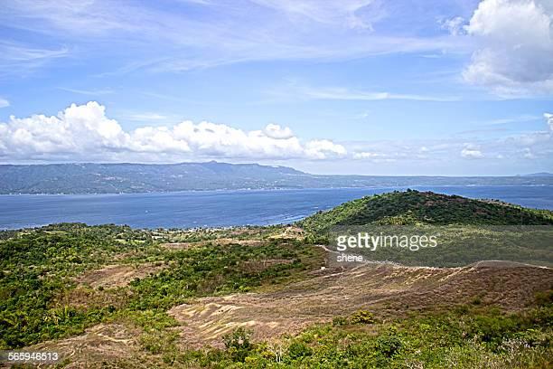 landscape over the lake taal. - taal foto e immagini stock