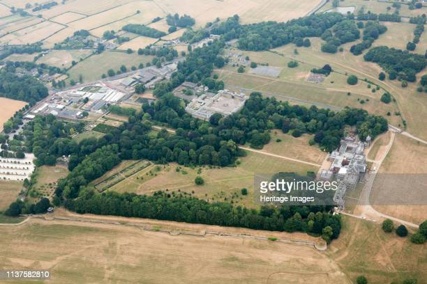 Landscape park, Wentworth Woodhouse, Wentworth, South Yorkshire, 2018. Aerial view during the drought of the summer of 2018 drought showing some...