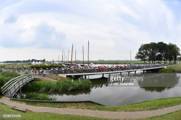 Landscape / Peloton / Bridge / during the 14th BinckBank Tour 2018, Stage 1 a 177,3km stage from Heerenveen to Bolsward / BBT / on August 13, 2018 in...