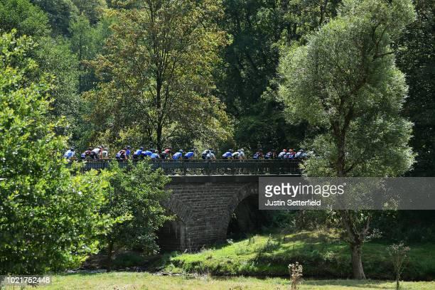 Landscape / Peloton / Bridge / during the 33rd Deutschland Tour 2018, a 157km stage from Koblenz to Bonn / Deine Tour / on August 23, 2018 in Bonn,...