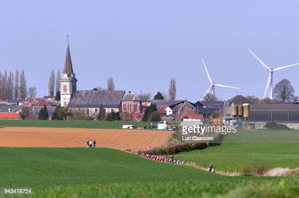 Landscape / Peloton / Church / Village / during the 116th Paris Roubaix 2018 a 257km race from Compiegne to Roubaix on April 8 2018 in Roubaix France