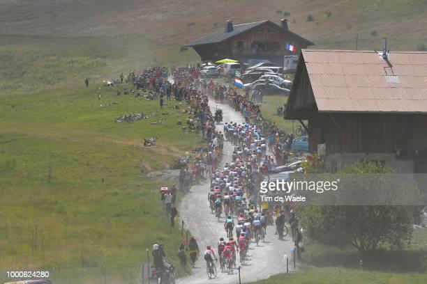 Landscape / Peloton / Col Des Glières / Dust / during the 105th Tour de France 2018 / Stage 10 a 158,5km stage from Annecy to Le Grand-Bornand 943m...