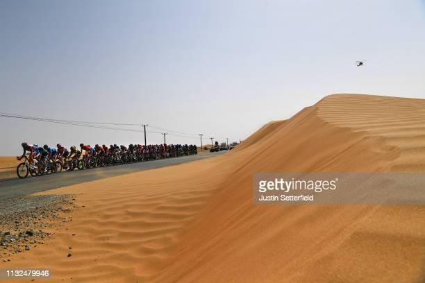 Landscape / Peloton / Desert / Dune / during the 5th UAE Tour 2019, Stage 4 a 197km stage from Palm Jumeirah - Dubai to Hatta Dam 419m / #UAETour /...