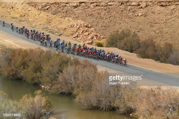 Landscape / Peloton / Desert / during the 1st Saudi Tour 2020, Stage 2 a 187km stage from Sadus Castle to Al Bujairi - Riyadh / #SaudiTour / on...
