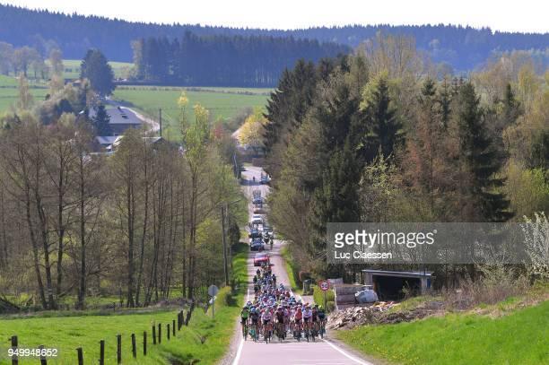 Landscape / Peloton / during the 2nd LiegeBastogneLiege 2018 a 136km women's race from Bastogne to LiegeAns on April 22 2018 in Liege Belgium