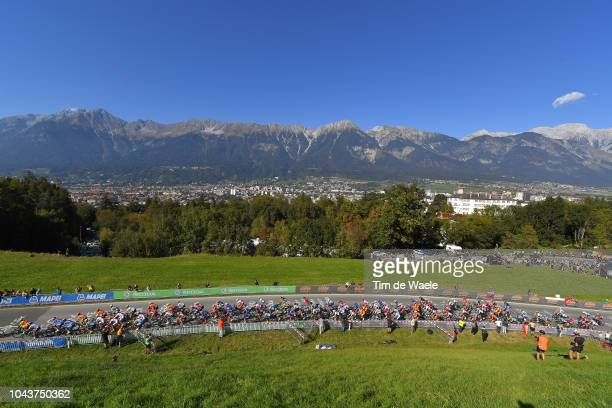 Landscape / Peloton / Mountains / during the Men Elite Road Race a 258,5km race from Kufstein to Innsbruck 582m at the 91st UCI Road World...