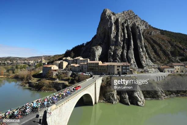 Landscape / Peloton / Mountains / Sisteron / Village / during stage 6 of the 76th Paris - Nice 2018, a 198km stage from Sisteron to Vence 331m on...