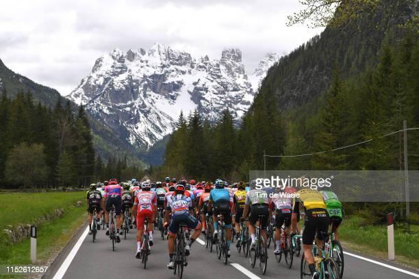 Landscape / Peloton / Mountains / Snow / during the 102nd Giro d'Italia 2019, Stage 18 a 222km stage from Valdaora to Santa Maria di Sala Tour of...