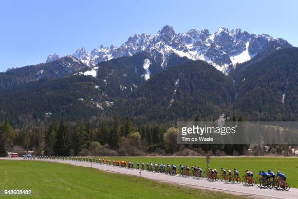 Landscape / Peloton / Mountains / Snow / during the 42nd Tour of the Alps 2018 Stage 4 a 1344 stage from Chiusa/Klausen to Lienz on April 19 2018 in...
