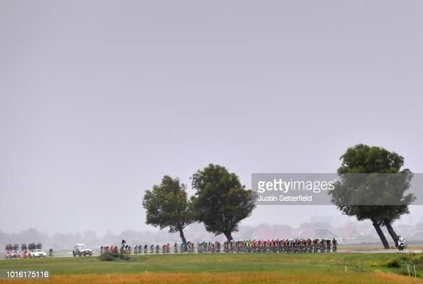 Landscape / Peloton / Rain / during the 14th BinckBank Tour 2018, Stage 1 a 177,3km stage from Heerenveen to Bolsward / BBT / on August 13, 2018 in...
