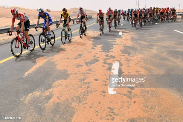 Landscape / Peloton / Sand storm / during the 5th UAE Tour 2019 Stage 5 181km stage from Sharjah Flag Island to Khor Fakkan / #UAETour / on February...
