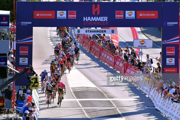 Landscape / Peloton / Sprint / during the 2nd Velon Hammer Series 2018 Stage 2 a 922km stage from Stavanger to Stavanger / Hammer Sprint / on May 26...