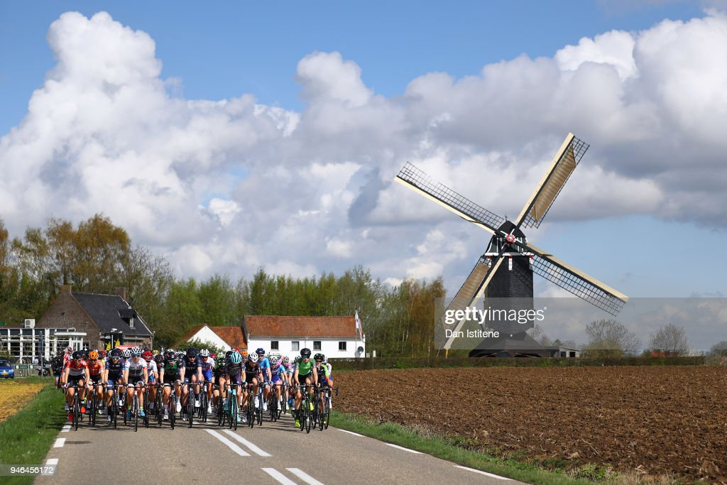 Landscape / Peloton / Windmill / during the 5th Amstel Gold Race 2018 a 116,9km women's race from Maastricht to Berg En Terblijt on April 15, 2018 in Berg En Terblijt, Netherlands.
