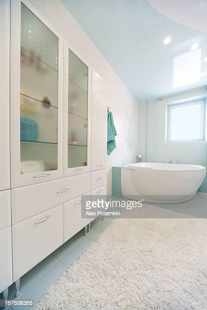 Landscape photograph of a modern designed bathroom