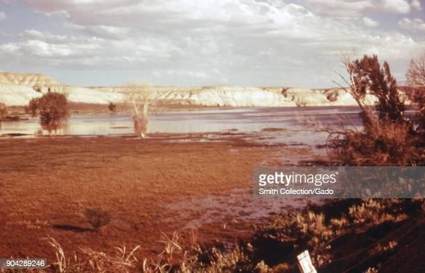 Landscape photograph of the marshy edge of a lake reservoir set in a grassy area with shrubs and white bluffs visible taken as part of an...