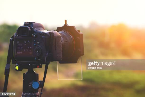 Landscape photographer, DSLR Camera outdoors