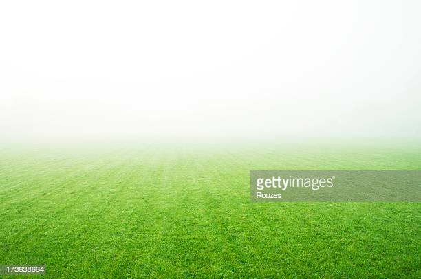 a landscape picture of a green field covered in fog - voetbalveld stockfoto's en -beelden