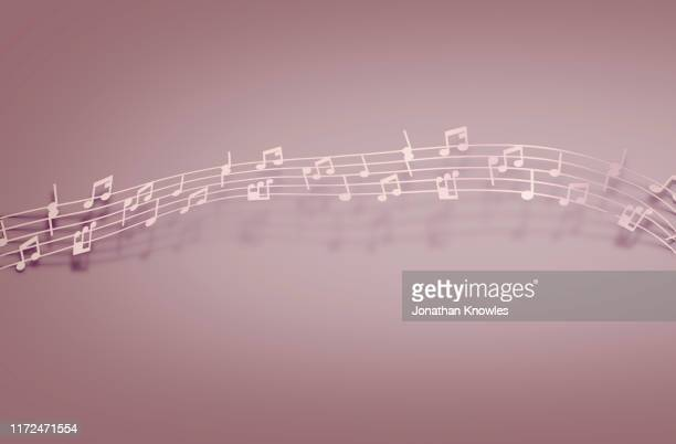 landscape pink music notes - musical note stock photos and pictures