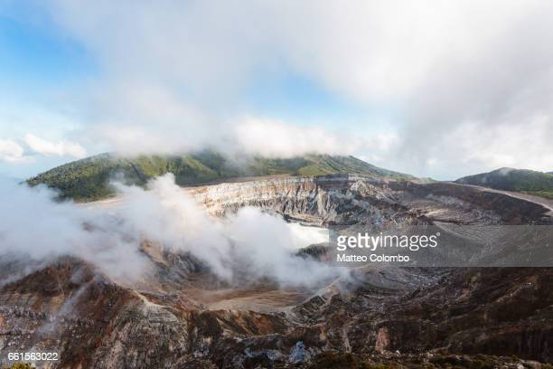 Landscape: Poas volcano emitting smoke, elevated view, Costa Rica