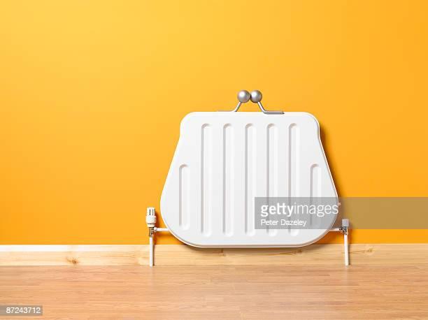 landscape purse shaped radiator. - calore concetto foto e immagini stock