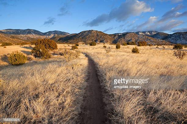 landscape recreation trail sunset - sandia mountains stock photos and pictures