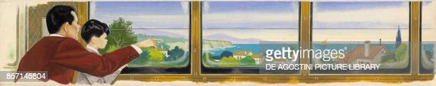 Landscape seen from a train, drawing.
