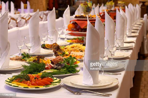 Landscape shot of a banquet prepared by a caterer
