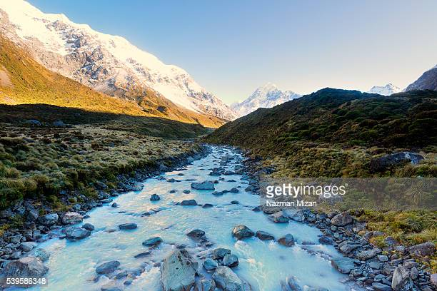 A landscape shot of a flowing river from melting ice.