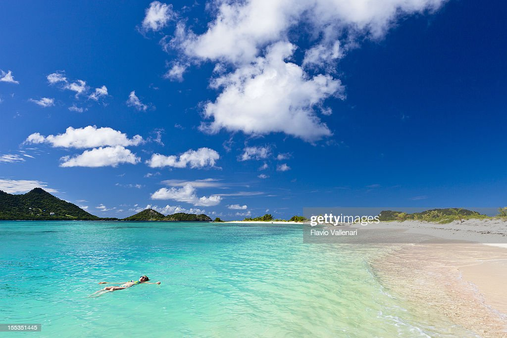 Explore The Beauty Of Caribbean: Landscape Shot Of Clear Blue Water At Sandy Island Grenada