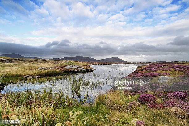 landscape shot of moorland near daliburgh, south uist - scotland stock pictures, royalty-free photos & images