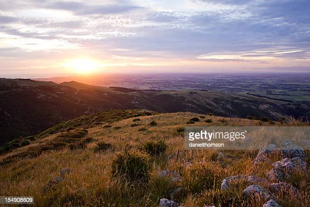 Landscape shot of Port Hills and Canterbury Plains