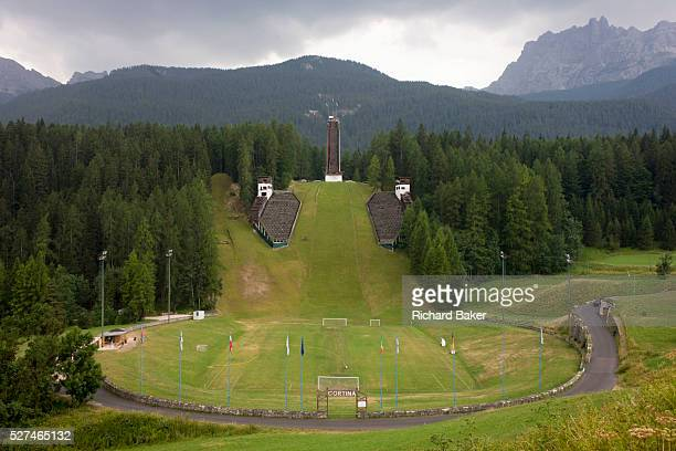 Landscape showing the ski jump for the 1956 Olympics in the city of Cortina d'Ampezzo Veneto Italy Although Cortina was unable to go ahead with the...