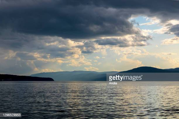 """Landscape, St. Lawrence river, in the direction of the island """"L'Isle-aux-Coudres"""", Quebec, Canada."""