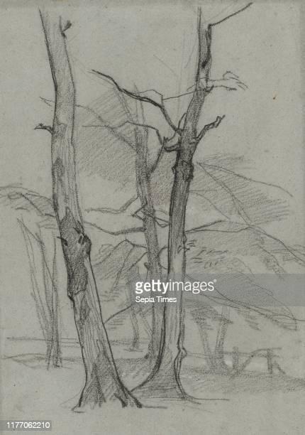 Landscape Study with Trees c 18701875 Thomas Couture Black chalk with white gouache sheet 458 x 32 cm