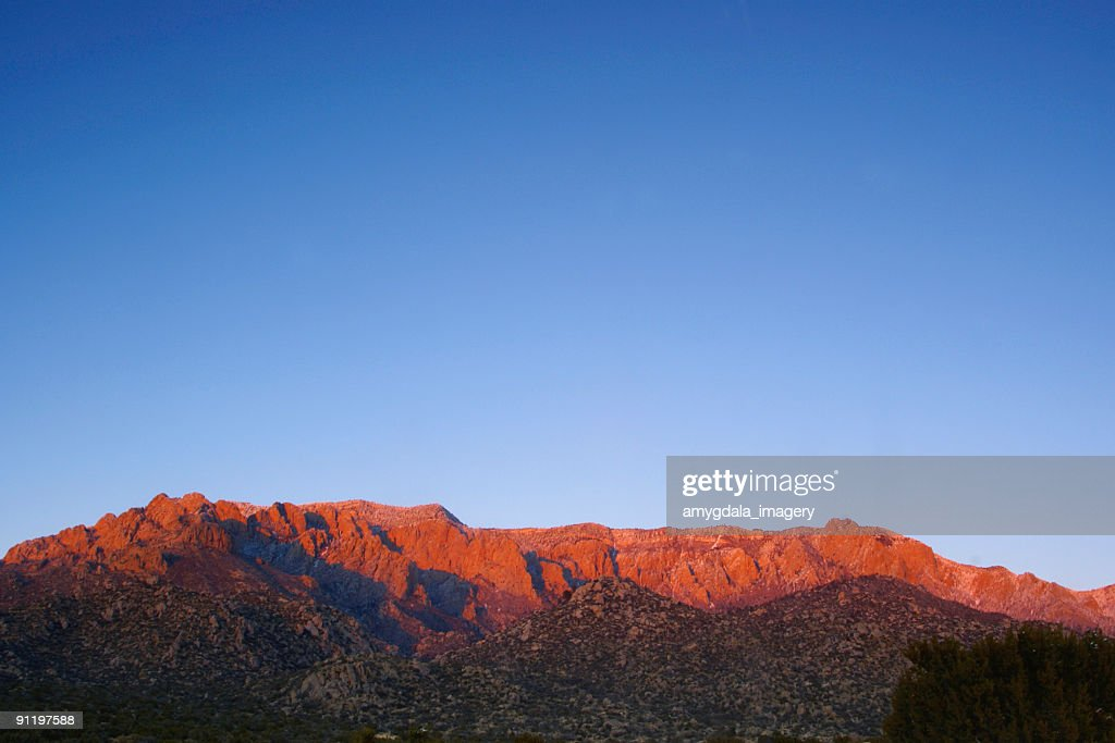 landscape sunset mountain red with blue sky : Stock Photo