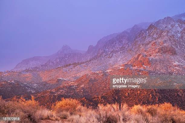 landscape sunset mountain winter - sandia mountains stock photos and pictures