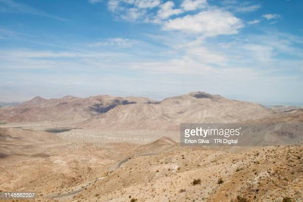landscape view from coachella valley desert on a dry climate - palm springs california stock pictures, royalty-free photos & images