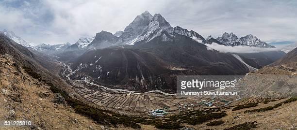 Landscape view from Nangkartshang Peak, Dingboche village, Everest region